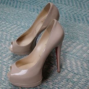 Christian Louboutin Nude Patent Peep Toe Heels.37
